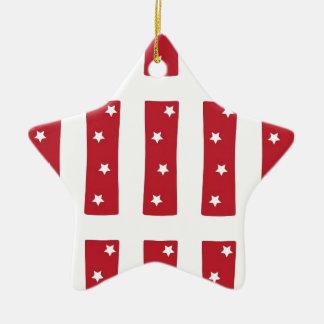 Letter I - White Stars on Dark Red Christmas Ornament