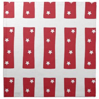Letter I - White Stars on Dark Red Printed Napkins
