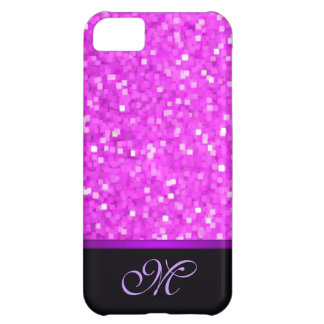 Letter Initial Pink Glitter Girly Mom Bling Cute iPhone 5C Case