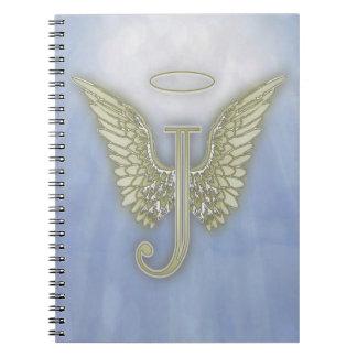Letter J Angel Monogram Spiral Notebook