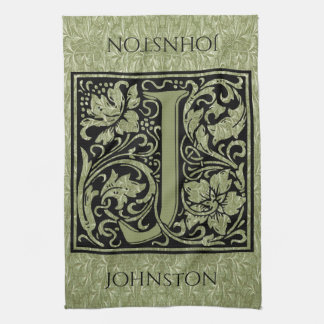 Letter J First Letter Monogram Personalized Tea Towel