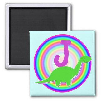 Letter J Green Dinosaur Diplodocus Fridge Magnet