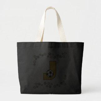 Letter J in Soccer Gold Monogram Tote Bag