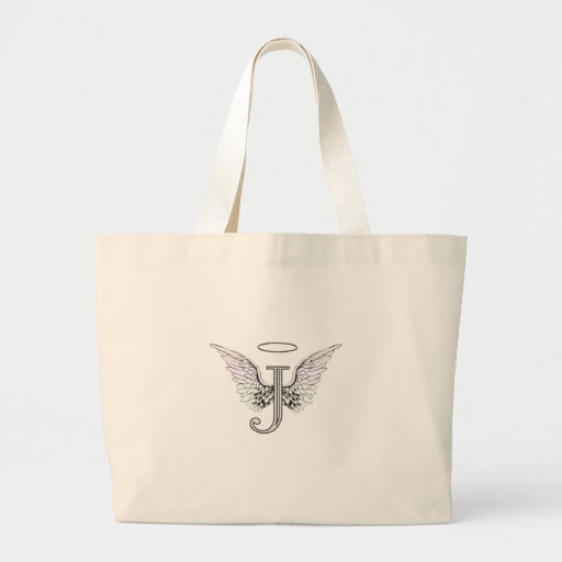 Letter J Initial Monogram with Angel Wings & Halo Canvas Bags