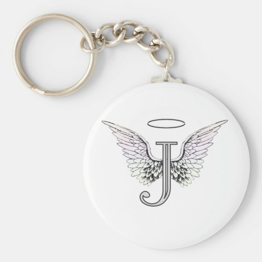 Letter J Initial Monogram with Angel Wings &