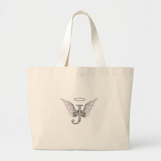Letter J Initial Monogram with Angel Wings & Halo Large Tote Bag