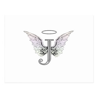 Letter J Initial Monogram with Angel Wings & Halo Postcard