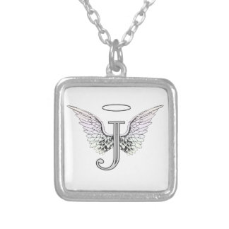 Letter J Initial Monogram with Angel Wings & Halo Square Pendant Necklace