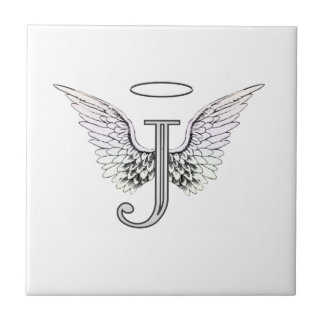 Letter J Initial Monogram with Angel Wings & Halo Tile