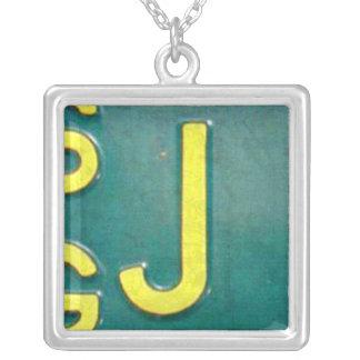 Letter J License Plate Vintage Necklace