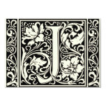 Letter J Mediaeval Monogram Vintage Initial 11 Cm X 16 Cm Invitation Card