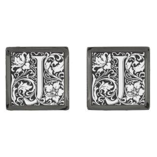 Letter J Medieval Monogram Vintage Initial Gunmetal Finish Cufflinks