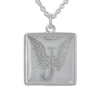 Letter J Memorial Monogram Square Pendant Necklace