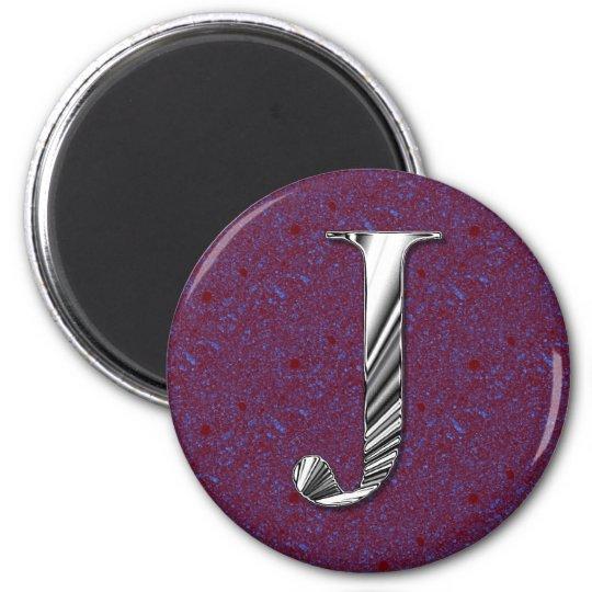 Letter J Monogram 6 Cm Round Magnet
