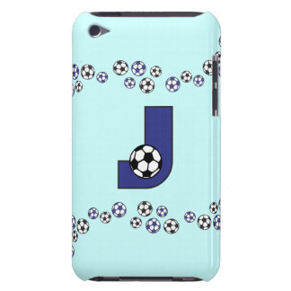 Letter J Monogram in Soccer Blue iPod Touch Cover