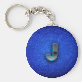 Letter J - neon blue edition Key Ring