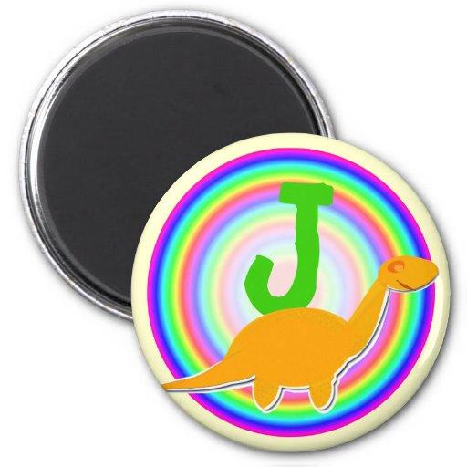 Letter J Orange Dinosaur Diplodocus Fridge Magnet