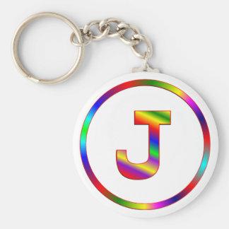 Letter J Rainbow Key Ring