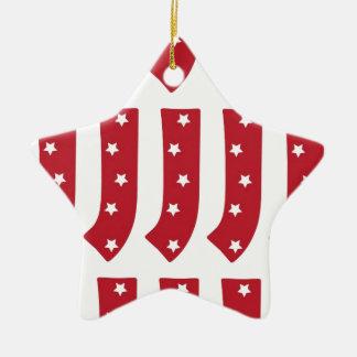 Letter J - White Stars on Dark Red Christmas Ornament