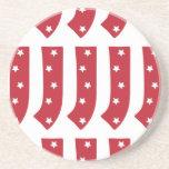Letter J - White Stars on Dark Red Drink Coaster