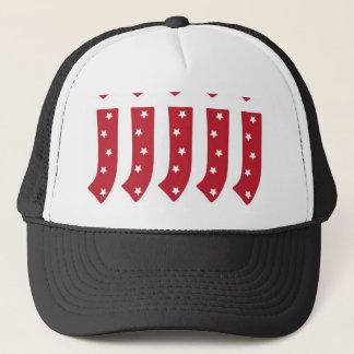 Letter J - White Stars on Dark Red Trucker Hat