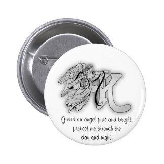 Letter K angel monogram alphabet initial 6 Cm Round Badge