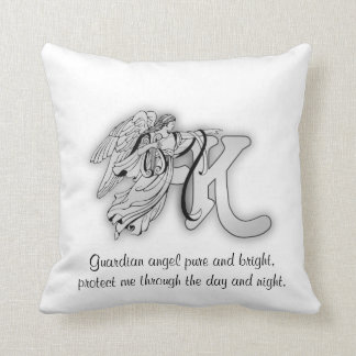 Letter K angel monogram alphabet initial Throw Cushions