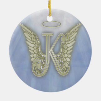Letter K Angel Monogram Christmas Ornament