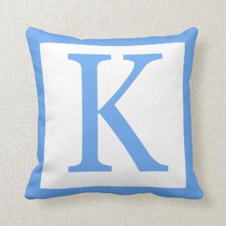 Letter K Baby Blue Border Throw Pillow