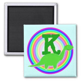 Letter K Green Dinosaur Diplodocus Fridge Magnet