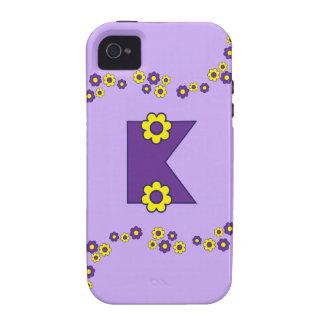 Letter K in Flores Purple Monogram iPhone 4/4S Cases