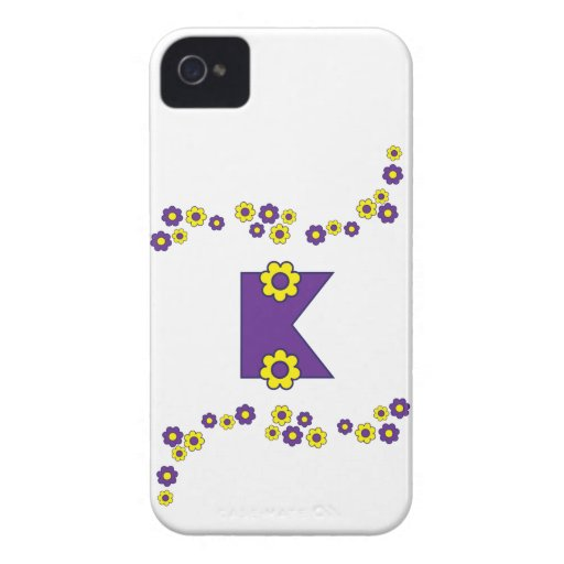 Letter K in Flores Purple Monogram iPhone 4 Cover