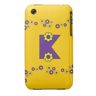 Letter K in Flores Purple Monogram iPhone 3 Case-Mate Cases
