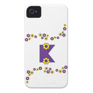 Letter K in Flores Purple Monogram iPhone 4 Case-Mate Case
