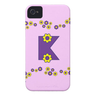 Letter K in Flores Purple Monogram iPhone 4 Covers