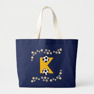 Letter K in Soccer Gold Monogram Tote Tote Bags