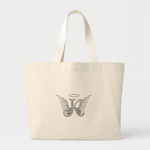 Letter K Initial Monogram with Angel Wings & Halo Canvas Bags
