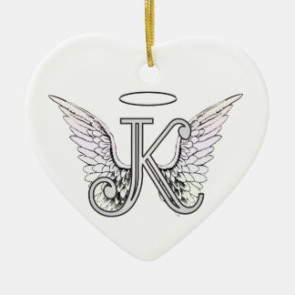 Letter K Initial Monogram with Angel Wings & Halo Christmas Ornament