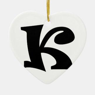Letter K_large Ceramic Heart Decoration