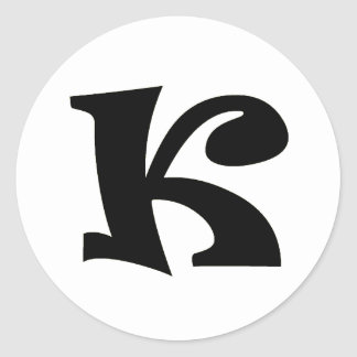 Letter K_large Classic Round Sticker