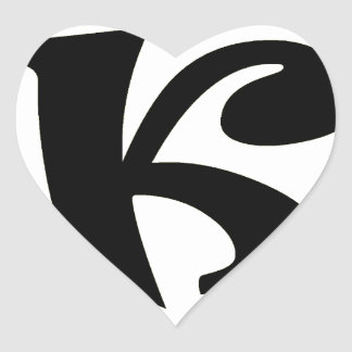 Letter K_large Heart Sticker