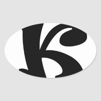Letter K_large Oval Sticker