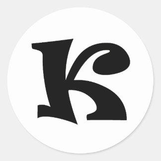 Letter K_large Round Sticker