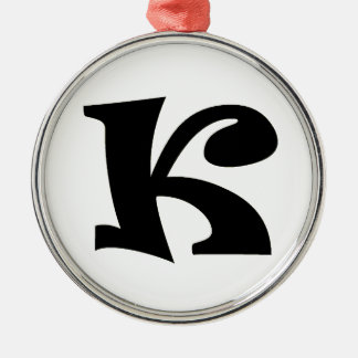Letter K_large Silver-Colored Round Decoration