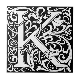 Letter K Medieval Monogram Vintage Initial Small Square Tile