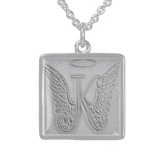 Letter K Memorial Monogram Square Pendant Necklace