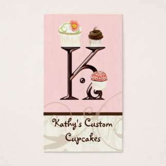 Letter K Monogram Dessert Bakery Business Cards