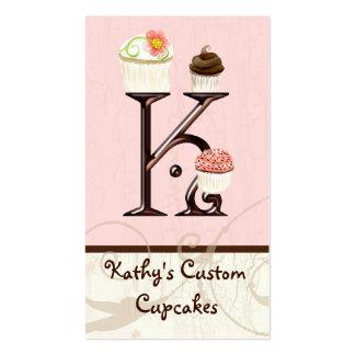 Letter K Monogram Dessert Bakery Business Cards