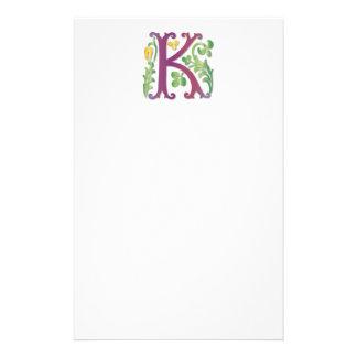 Letter K Monogram Fleur de lis Stationery Design
