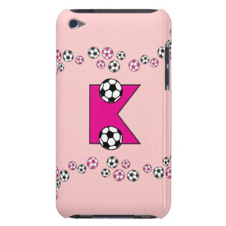Letter K Monogram in Soccer Pink iPod Touch Case-Mate Case